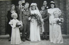 Photo:Arthur Brown and Phyllis Cox wedding at St. Peter's Church. From L to R Nan Brown, Art, Arthur, Phyllis, Nan Cox and Grandad Pops.