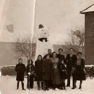 Photo:Snowman in Bishopsford Rd.  1947  Dyer family and neighbours