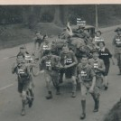 Photo:5th Morden Scouts Hiking from Reigate Fort in 1952 were Mike Davis, Alan Good, Ron Bird, Les Bird, Alan Trower, Dave Smith, Connie, Bob Harvey, Eric Pearcy. Pam Maunder and Dan Maunder