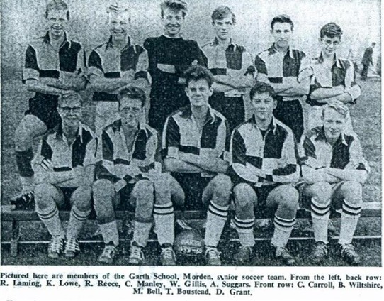 Photo:Garth School Morden Senior Football Team Late 1950's