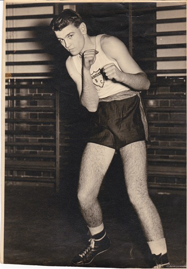 Photo:Malcolm Cowen aged 15 as an amateur at the Printing and Allied Trades Boxing Club