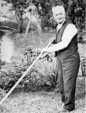 "Photo:""Pops"" Law in his garden"