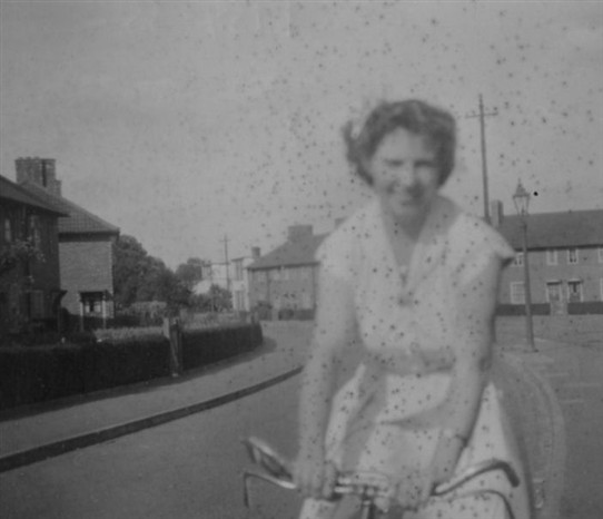 Photo:Doreen Wilkes cycling in Welbeck Road