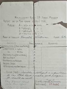 Photo:Malmesbury school report 1938