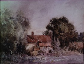 Photo:A painting entitled 'Simm's Cottage' by Tatton Winter.  It may represent Farm Cottage or possibly a cottage at Westcroft.
