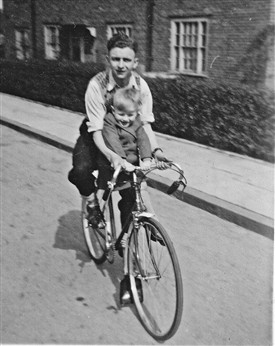 Photo:Cycling in Bodmin Grove in 1949. Douglas Millington with Clive Orton.