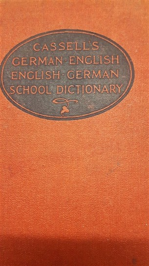 Photo:Prize book awarded to Ronald Jackson who attended Welbeck School.  Cassells German English dictionary presented to him for art at camp.