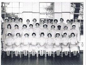 Photo:St. Helier Hospital Nurses Training School October 1958. Maureen Arnold 2nd left at the back.