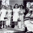 "Photo:Crowning the ""Rose Queen"" at Green Wrythe Lane Infant School 23rd June 1955"